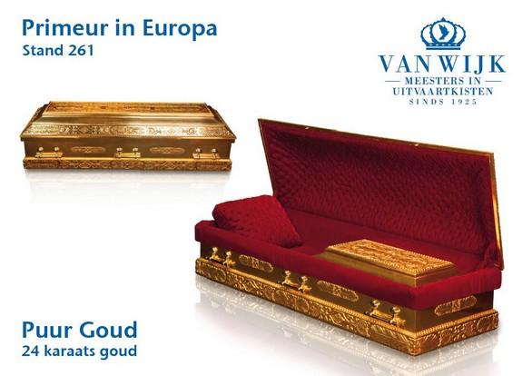Primeur in Europa: 24 karaats gouden uitvaartkist